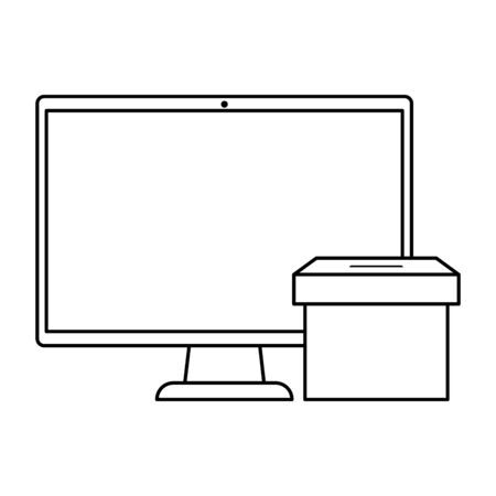 computer with ballot box isolated icon vector illustration design