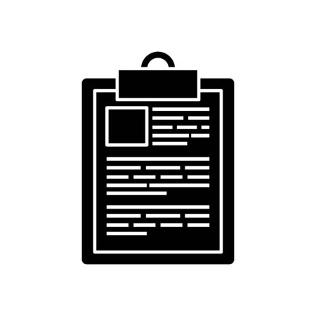 silhouette of clipboard with paper document isolated icon vector illustration design