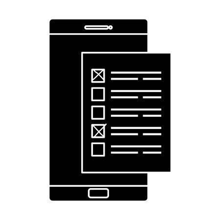 silhouette of smartphone for vote online vector illustration design Çizim