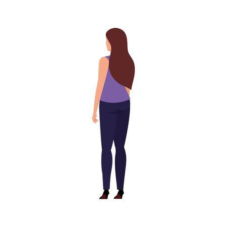 back business woman elegant avatar character vector illustration design
