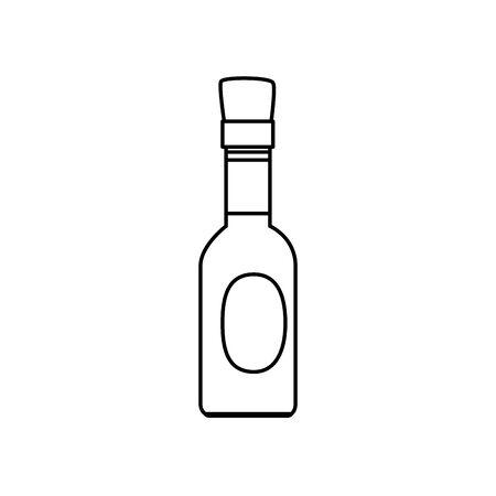 delicious sauce in bottle line style icon vector illustration design Çizim