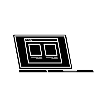 silhouette of laptop computer with web page isolated icon vector illustration design Illusztráció