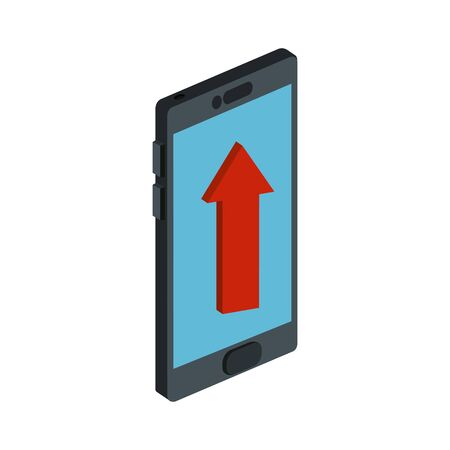 smartphone device with arrow up isolated icon vector illustration design