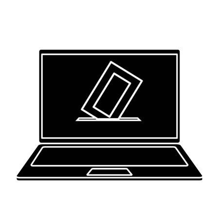 Silhouette d'ordinateur portable pour voter en ligne vector illustration design Vecteurs