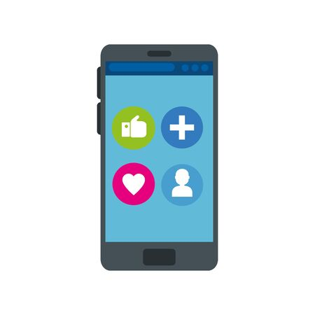 smartphone device with buttons app isolated icon vector illustration design Illusztráció