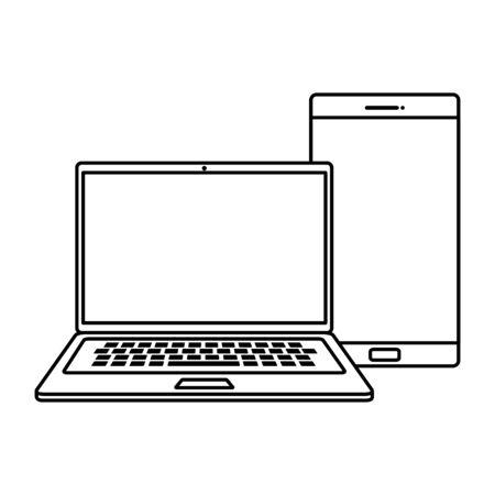 laptop computer with smartphone line style icon vector illustration design Illusztráció