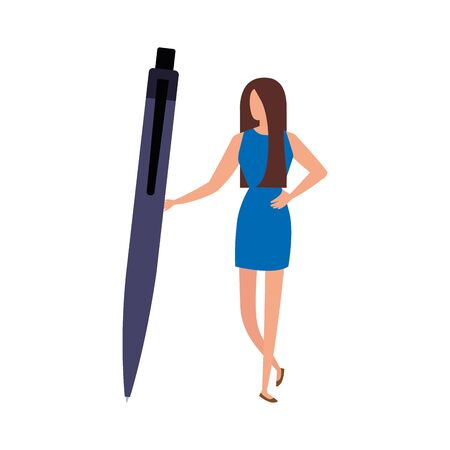 business woman with pen avatar character vector illustration design