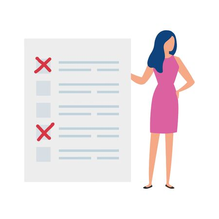 business woman with vote form isolated icon vector illustration design Ilustração