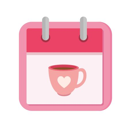 calendar with cup coffee isolated icon vector illustration design
