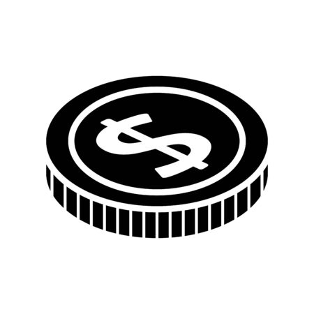 silhouette of coin money cash isolated icon vector illustration design 向量圖像