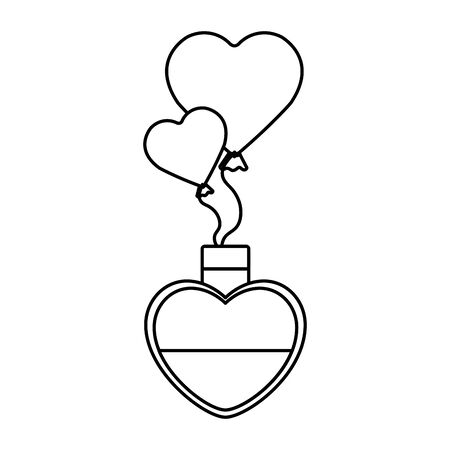 fragrance with heart bottle and balloons helium vector illustration design