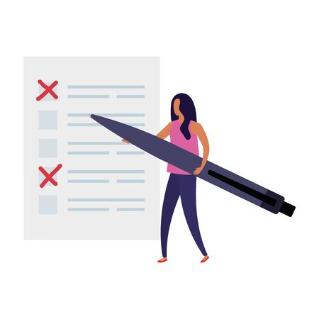 business woman with vote form and pen vector illustration design