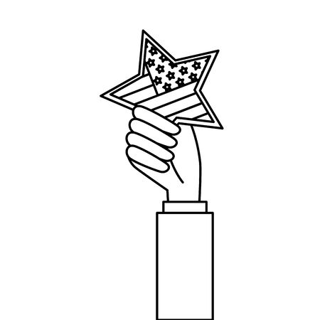 Hand holding usa star design, United states america independence labor day nation us country and national theme Vector illustration  イラスト・ベクター素材