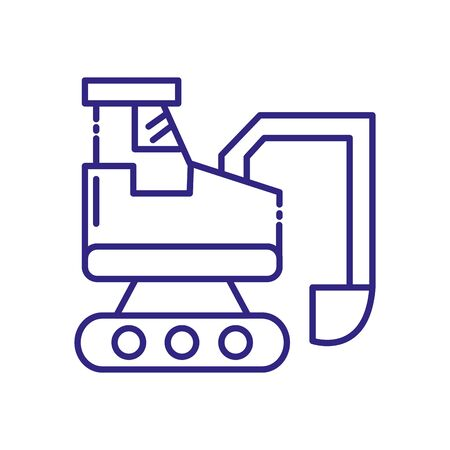 Hydraulic excavator design of Construction working maintenance workshop repairing progress labor and industrial theme Vector illustration  イラスト・ベクター素材