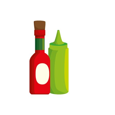 set of delicious sauces isolated icon vector illustration design