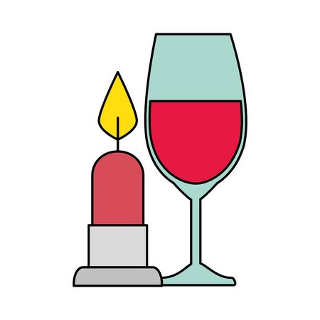 cup glass champagne with candle light isolated icon vector illustration design