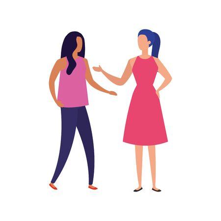business women elegant avatar character vector illustration design