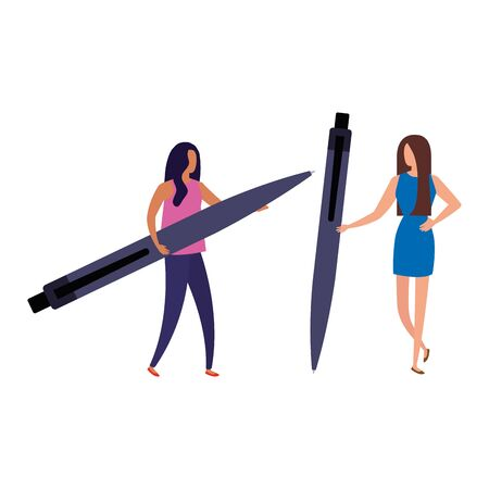 business women with pen avatar character vector illustration design