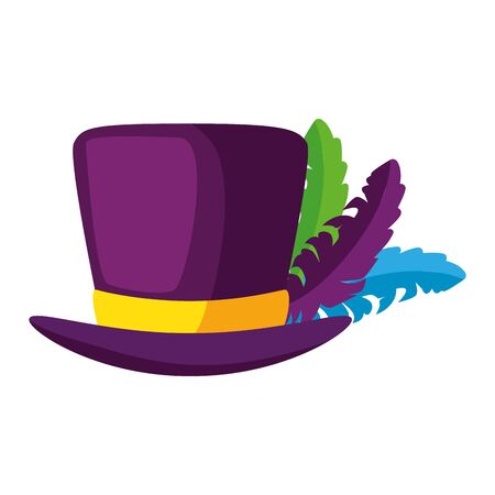 Mardi gras hat with feathers design, Party carnival decoration celebration festival holiday fun new orleans and traditional theme Vector illustration