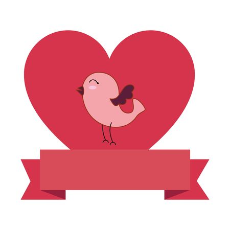 cute bird with heart and ribbon vector illustration design Illustration