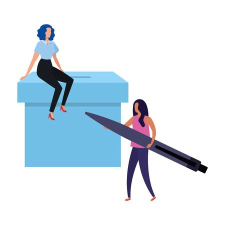 business women with ballot box and pen vector illustration design