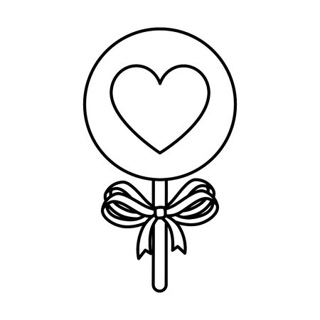 sweet lollipop with heart isolated icon vector illustration design