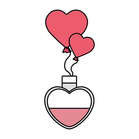fragrance and balloons helium in shape heart vector illustration design