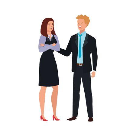 business couple elegant avatar character vector illustration design