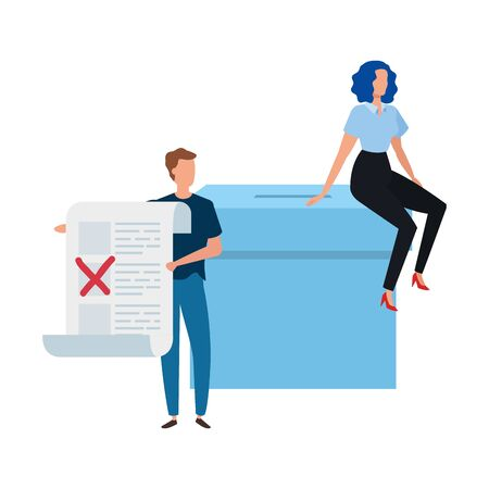 business couple with ballot box isolated icon vector illustration design 向量圖像