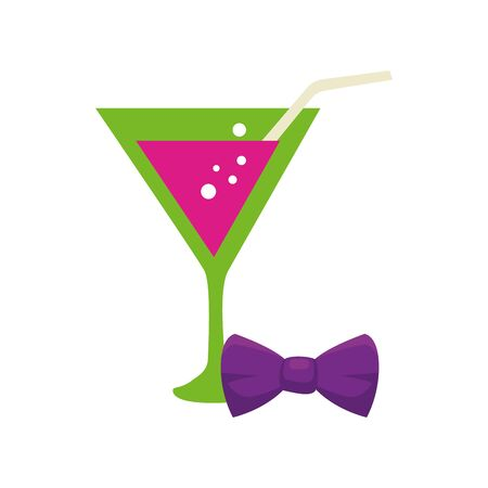 Mardi gras cocktail and bowtie design, Party carnival decoration celebration festival holiday fun new orleans and traditional theme Vector illustration