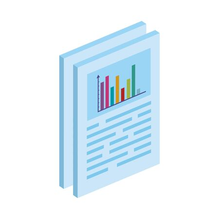 documents with bars statistical graph isolated icon vector illustration design