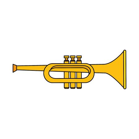 Trumpet instrument design, Music sound melody song musical art and composition theme Vector illustration