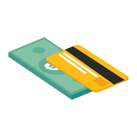 credit card with bill finance isolated icon vector illustration design