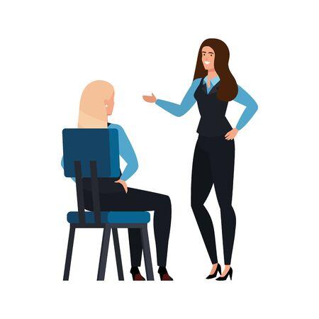 business women talking isolated icon vector illustration design