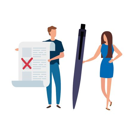 couple with vote form and pen isolated icon vector illustration design Иллюстрация