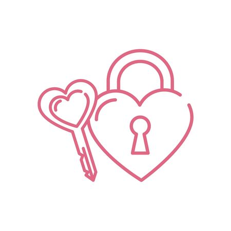 Heart key and padlock design of love passion romantic valentines day wedding decoration and marriage theme Vector illustration