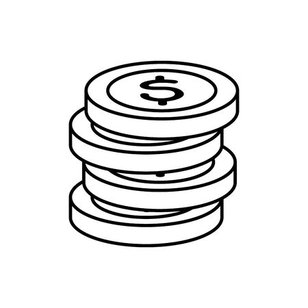 pile of coins money cash line style icon vector illustration design 向量圖像