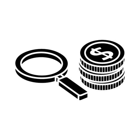silhouette of pile of coins with magnifying glass isolated icon vector illustration design