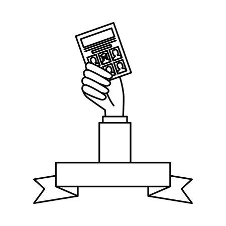 Mano que sostiene el diseño de papel de voto, presidente electoral campaña de gobierno votante político independencia política y tema unido ilustración vectorial