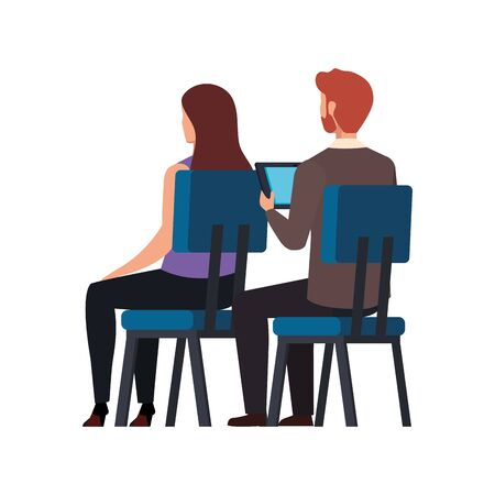 back business people sitting in chair isolated icon vector illustration design