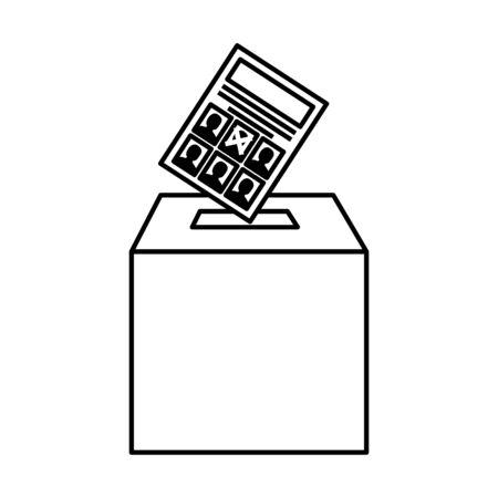 Diseño de papel y caja de votación, campaña de gobierno de elección de presidente votante político independencia política y tema unido ilustración vectorial