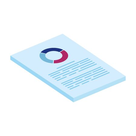document with circular statistical graph isolated icon vector illustration design Illustration