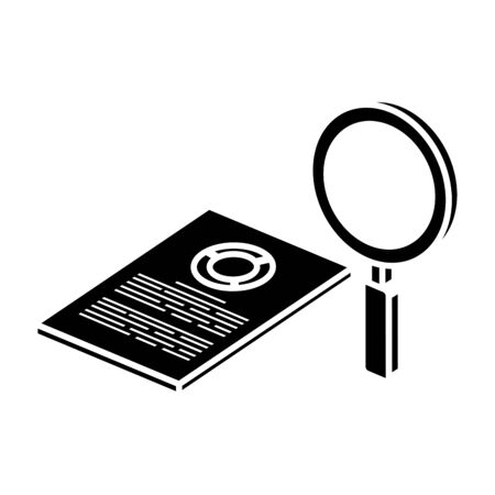 silhouette of document with circular statistical and magnifying glass vector illustration design Illustration