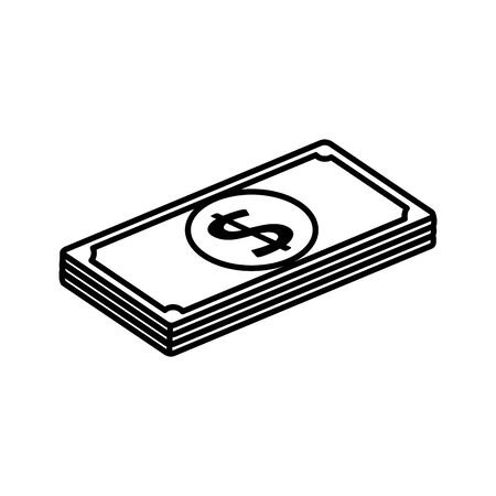stack bills money cash isolated icon vector illustration design
