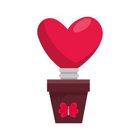 light bulb in shape heart in pot plant vector illustration design