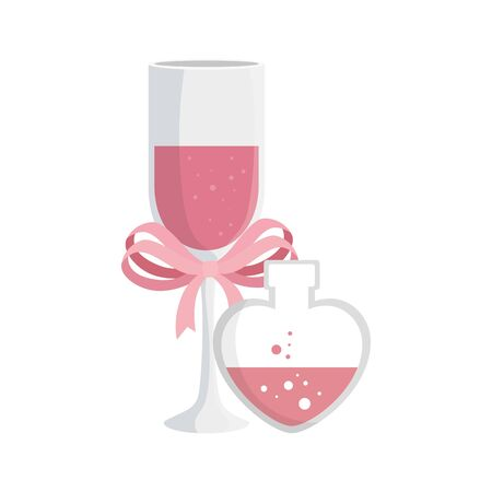 cup champagne and fragrance with heart bottle vector illustration design
