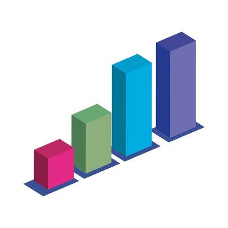bar grafico statistico icona isolata illustrazione vettoriale design Vettoriali