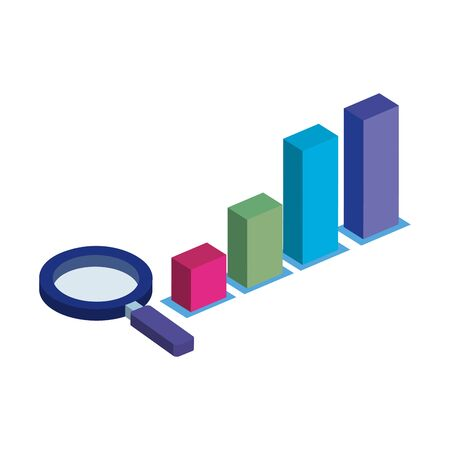 bars statistical graph with magnifying glass isolated icon vector illustration design Illustration