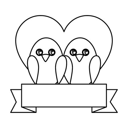 cute birds with heart and ribbon vector illustration design