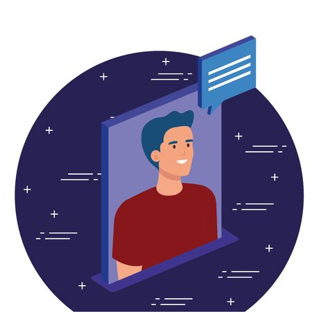 Man with bubble design, Digital technology communication social media internet and web theme Vector illustration Ilustração
